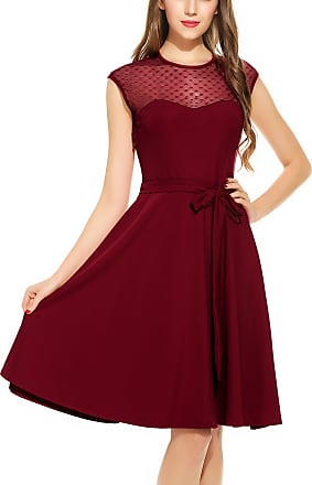 Zeagoo Womens Elegant Sleeveless Mesh Patchwork Cocktail Swing Dress Wine Red XL