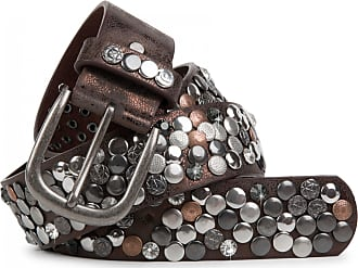styleBREAKER studded belt with various studs and rhinestones in a vintage design, 03010051, size:85cm, color:Antique-Dark Brown