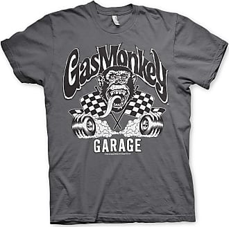 Gas Monkey Garage Officially Licensed Burning Wheels Mens T-Shirt (Darkgrey), XX-Large