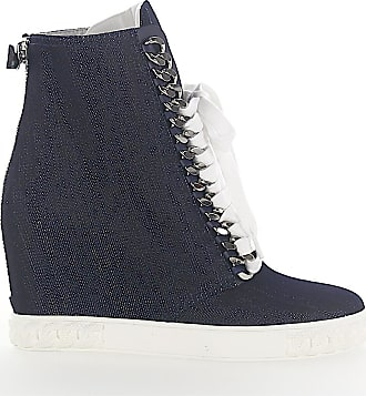 500235247bfe Casadei Wedge Sneakers 2X93H denim jeans blue chain ornament