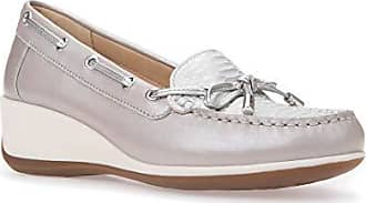 Geox Womens ARETHEA 3 Moccasin Light Grey/Off White 38.5 M EU (8.5 US)