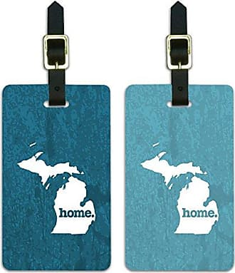Graphics & More Michigan MI Home State Luggage Suitcase ID Tags Set of 2 - Textured Robin Egg Blue