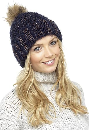 Foxbury Ladies Chunky Knit Hat with Faux Fur Bobble Blue