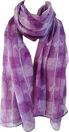 GlamLondon Forest Print Scarf Large Size Fashionable Trees Printed Women Wrap (Purple)