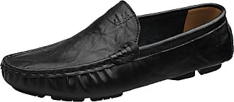 ICEGREY Mens Leather Boat Shoes Slip On Loafers Black 14