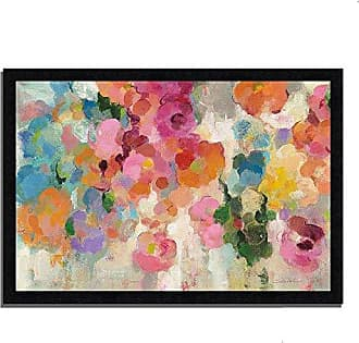 Tangletown Fine Art Colorful Garden I by Silvia Vassileva Framed Art Blue, Pink, Orange