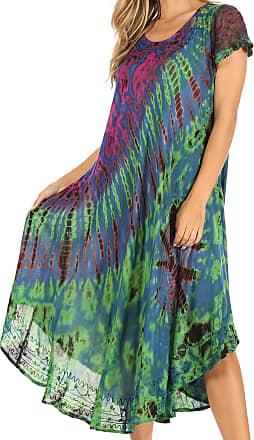 Sakkas 1813900 - Sofi Womens Short Sleeve Embroidered Tie Dye Caftan Tank Dress/Cover Up - Blue - OS