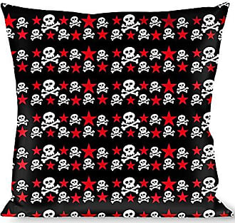Buckle Down Pillow Decorative Throw Skulls Stars Black White Red