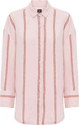 Osklen Camisa Oversized Listras Linho - Rosa