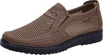 Jamron Mens Summer Breathable Mesh Loafers Driving Shoes Lightweight Casual Trainers Brown SN01749 UK7.5