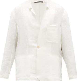 Haider Ackermann Geometric-jacquard Linen-blend Blazer - Mens - White