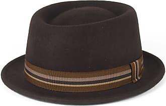 Hat To Socks Stylish Brown 100% Wool Pork Pie Hat Waterproof & Crushable, Handmade in Italy (Brown, 54 cm)