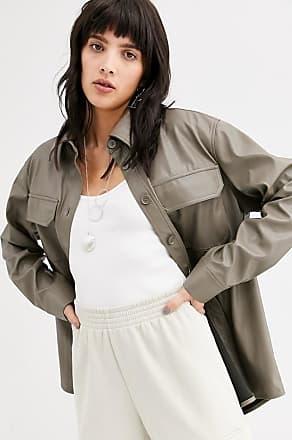 Weekday Nancy - Langärmliges Hemd aus Lederimitat-Grau