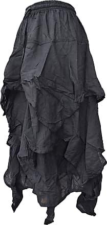 Gheri 3 Layer Asymmetrical Hem Elastic Waist Stonewashed Skirt B