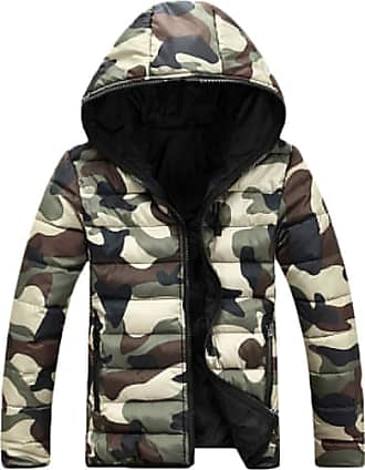 Yonglan Womens Mens Camo Hooded Down Jacket Couple Winter Warm Padded Puffer Coat Green M