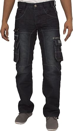 Enzo Jeans Mens New EZ319 Dark WASH Cargo Combat Style Jeans Pants Stylish Sizes 30-40 (44R)