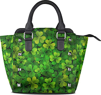 NaiiaN Leather Shamrocks St Patrick Day Clover Leaf Handbags Tote Bag for Women Girls Ladies Student Shoulder Bags Purse Shopping Light Weight Strap Happy
