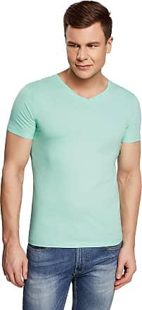 oodji Mens Basic V-Neck T-Shirt, Green, UK 42-44 / EU 52-54 / L