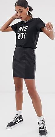 Noisy May Faux Leather Skirt-Black