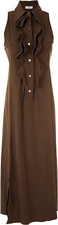 Amir Slama ruffle-trim maxi dress - Brown