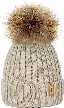 TOSKATOK Womens Winter Rib Knitted Hat/Beanie with Detachable Chunky Faux Fur Bobble Pom Pom - Available in 5 Colours Beige