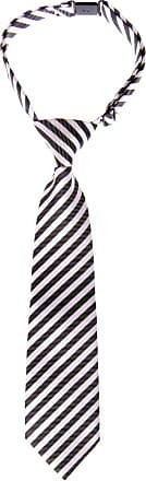 Retreez Striped Woven Pre-tied Boys Tie - Black and White Stripe - 4-7 years