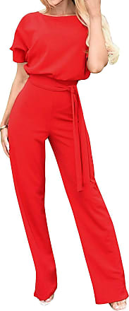 Yidarton Womens Short Sleeve Jumpsuit Ladies Solid Casual Short Playsuit Romper with Belt (Long-Red, XL)
