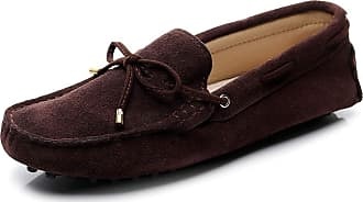 Jamron Womens Classic Suede Bow Tie Loafers Comfort Handmade Slipper Moccasins Coffee 24208-2 UK6.5