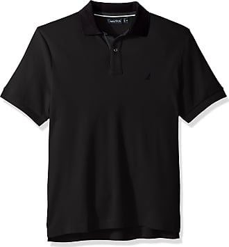 Nautica Mens Classic Fit Short Sleeve Solid Soft Cotton Polo Shirt, True Black Spinnaker, XL