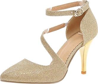 RAZAMAZA Women Ankle Strap Glitter Dress Court Shoes Gold Size 40 Asian