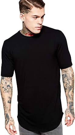 Di Nuevo Camiseta Alongada Longline Lisa Oversized Básica Preta