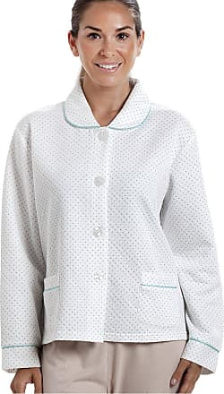 Camille Womens White Bed Jacket with a Blue Dot Print 18/20
