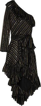 Philosophy di Lorenzo Serafini Philosophy Di Lorenzo Serafini Woman One-shoulder Metallic Silk-blend Jacquard Dress Black Size 38
