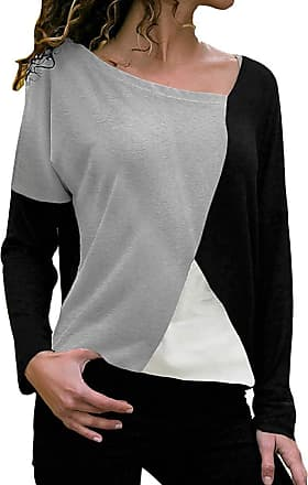 NPRADLA Womens 2020 O-Neck Long Sleeve Patchwork Color Block Casual T-Shirts Blouses Tops Black