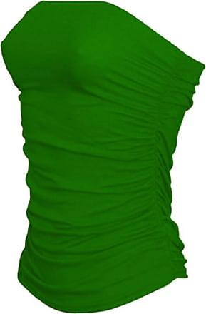 Janisramone Womens New Boobtube Bandeau Strapless Top Ladies Both Side Ruched Crop Bra Vest Top Jade Green