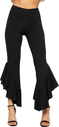 WearAll Womens Asymmetric Frill Hem Trousers Ladies Ruffle Flared Bottom Stretch Plain - Black - 12