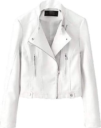 VITryst Womens Lapel Zip Motorcycle Biker PU Leather Loose Long Sleeve Casual Warm Long Jackets Tops,White,XX-Small