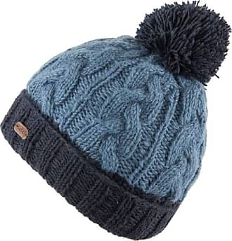 KuSan 100% Wool Cable Turn Up Bobble Hat PK1928 (Navy)