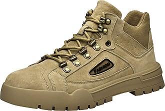 Insun Mens Casual Leather Tactical Combat Boot Khaki UK 4.5