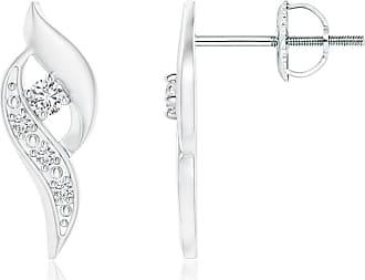 Angara Valentine Day Sale - Diamond Shell Stud Earrings