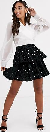 In The Style x Stephsa mini ruffle polka dot skirt-Black