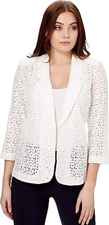 Roman Originals Women Floral Lace Jacket - Ladies Petal Cotton Blazer Smart Formal Occasion Wedding Guest Ascot Tailored Fitted Evening Cardigan - Ivory White - Size