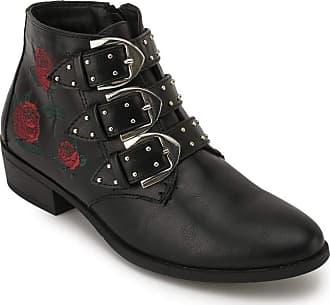 Truffle Black PU Embroidery Floral Flower Buckle Ankle Stud Zip Biker Boots [Ladies UK 8 / EU 41]