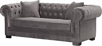Dekoria Sofa Chesterfield Classic Velvet Dark Grey 3-Sitzer