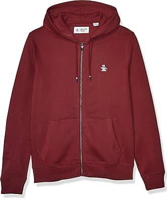 Original Penguin Mens Long Sleeve Full Zip Hoodie Hooded Sweatshirt, Tawny Port Sticker Pete, Medium