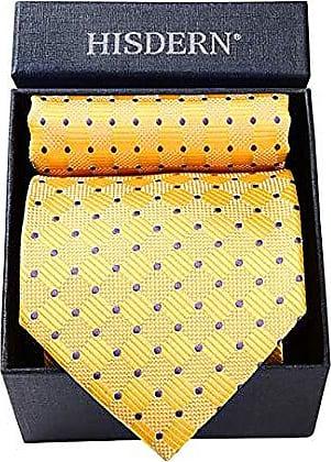 HISDERN Manner Krawatte Einstecktuch Set Klassische Krawatte Taschentuch Geschenkbox Streifen Punktmuster Einfarbig Taschentuch