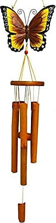 Great World Company StealStreet 448002 39 Bamboo Wind Chime with Painted Butterfly Top, Yellow Tone