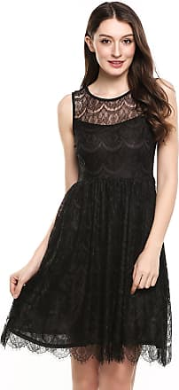 Zeagoo Womens Floral Lace A-Line Pleated Wave Hem Dress