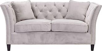 Dekoria Sofa Chesterfield Modern Velvet Light Grey 2-Sizter