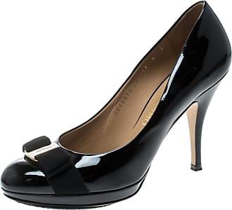 cc35d1a031e6 Salvatore Ferragamo Black Patent Leather Carla Vara Bow Platform Pumps Size  38.5